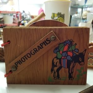 2/$20 Vintage Wooden Photographs Album with Donkey